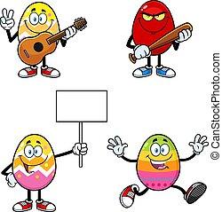 Easter Egg Cartoon Mascot Character. Vector Collection Set