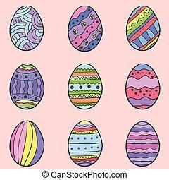 Easter egg colorful set of doodles