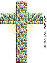 Easter Egg Cross isolated on a white background.