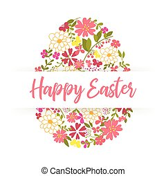 Easter Egg decorated with different floral elements pattern. Vector illustration.