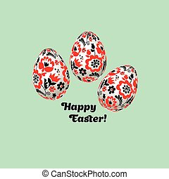 Easter egg decoration vector illustration. floral folk-style decor on christian resurrection symbol. spring life icon in simple decorative style