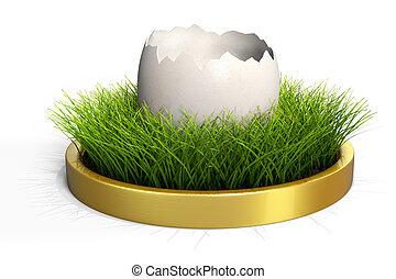 Easter Egg - White easter egg with grass