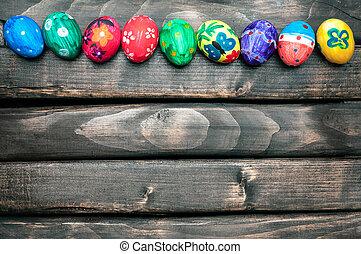Easter Egg. Easter eggs lying in a basket. Easter ideas....