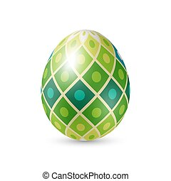 Easter Egg with Abstract Green Tiles Texture, Standing...
