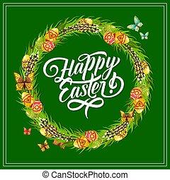 Easter egg frame greeting card for spring holiday