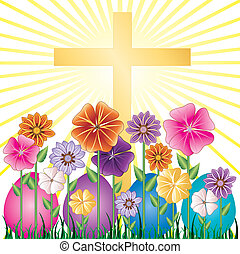 Easter Egg Garden - Vector illustration of a Cross and...