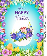 Easter egg greeting card with flower frame