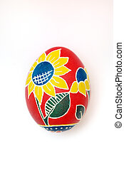 Easter egg handmade on a white background