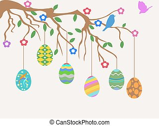 easter egg hanging on tree and birds flowers card