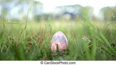Easter egg hidden in grass for an Easter egg hunt.