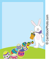 A smiling white bunny rabbit is leaving a trail of Easter eggs, as they fall from a basket it is carrying.