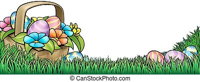 An Easter background border frame footer of a basket hamper and Easter eggs in a spring field of grass and flowers