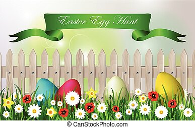 Easter egg hunt background white wooden fence sky grass and flowers