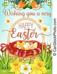 Easter Egg Hunt basket with flowers poster design