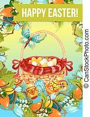 Easter egg hunt cartoon poster or greeting card