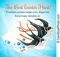Easter Egg Hunt cartoon poster with swallow bird