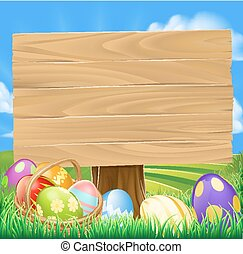 Easter Egg Hunt Cartoon Sign with a basket of Easter eggs in...