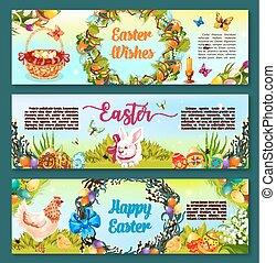 Easter egg hunt celebration cartoon banner set