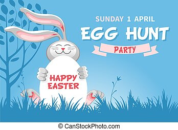 Easter Egg Hunt invitation or flyer design with cheerful bunny which hold egg on blue background with spring landscape. Vector Illustration.