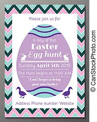 Easter Egg hunt invitation card - Vector illustration of...