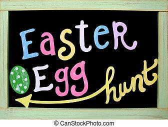 Easter egg hunt sign - Easter egg hunt written on blackboard