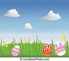 Easter Egg Hunt - decorated Easter eggs in a grassy field