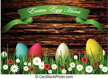 Easter egg hunt with Wood texture - Easter egg hunt with...