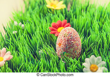 Easter egg in a grass