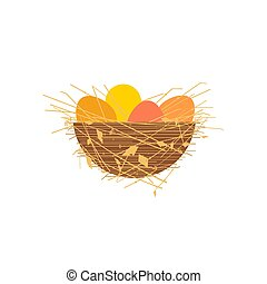 Easter egg in nest flat color vector icon isolated