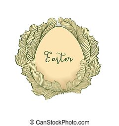 Easter egg isolated vector element with doodle style colorful feathers