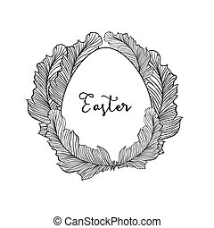 Easter egg isolated vector element with doodle style feathers