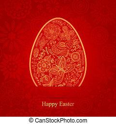 Easter egg made of flowers, floral Easter egg background