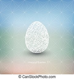 Easter egg on blurred background with place for your text