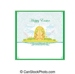 Easter Egg On floral Background