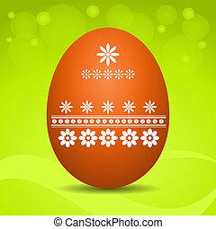 Easter egg on green background