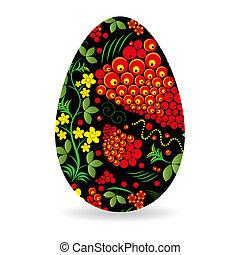 Easter egg painted by Khokhloma