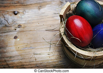 Easter Egg - Easter eggs in wooden basket with grass