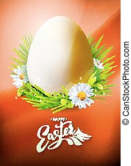 Easter Egg poster on orange - Realistic Egg Hunt poster with...