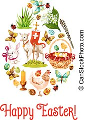 Easter egg poster with cartoon holiday symbols