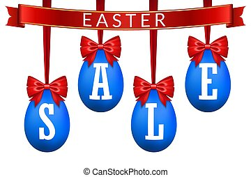 Easter egg sale 3D banner set. Red ribbon bow, white text, blue hanging eggs, isolated background. Design poster, promotion decoration, special offer, best price. Tag discount. Vector illustration