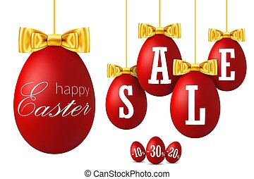 Easter egg sale 3D. Happy Easter hanging red eggs, gold ribbon bow isolated white background. 10, 20, 30 percent off. Design banner, poster, promotion, special offer. Tag discount. Vector illustration