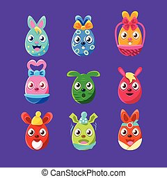 Easter Egg Shaped Easter Bunnies Colorful Girly Sticker Set Of Religious Holiday Symbols