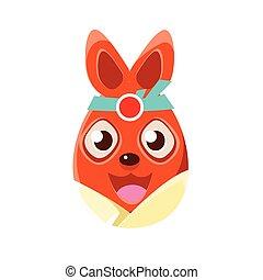 Easter Egg Shaped Orange Easter Bunny In Kimono Colorful Girly Religious Holiday Symbol Emoji