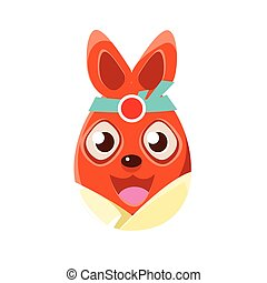 Easter Egg Shaped Orange Easter Bunny In Kimono Colorful Girly Religious Holiday Symbol Emoji