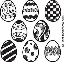 Easter egg sketches - Doodle style decorated easter egg...