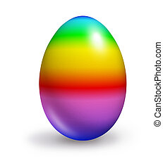 easter egg rainbow colors isolated on white