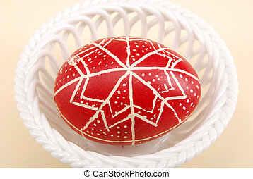 Easter egg - Traditional hand painted easter egg in the...