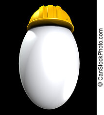 Easter egg that has a safety helmet on indicating it is a ...