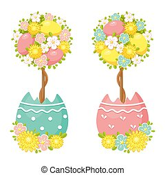 Easter Egg Topiary Tree Decoration on white background.