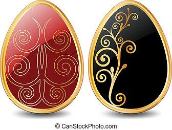 Easter Egg. Vector illustration in black over